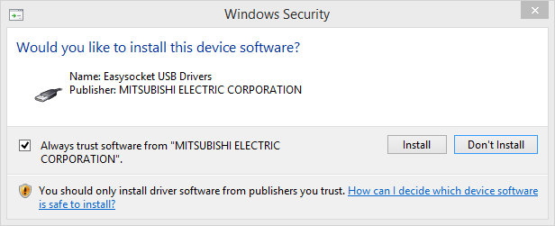 """Easysocket USB Drivers"" from Mitsubishi Electric Corporation"