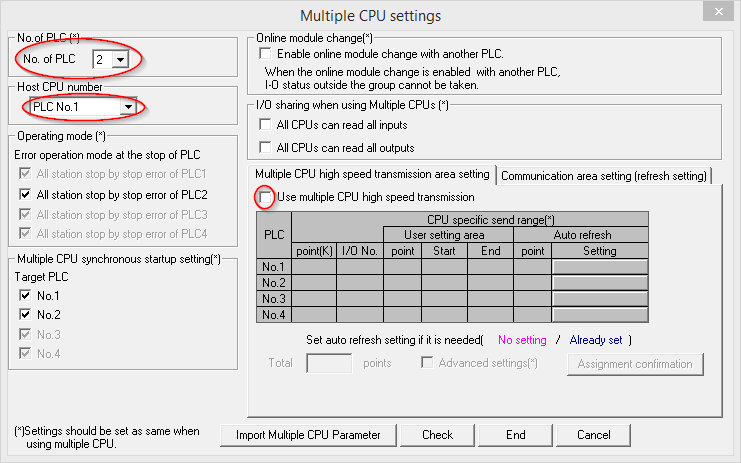 Multiple CPU settings in GX IEC Developer
